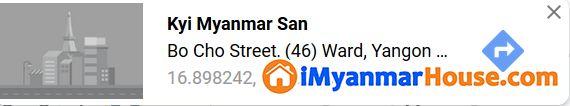 #ရပ်ကွက်လမ်းကျယ်ပေါ်က RCတိုက်အသစ်လေး အကျိူးဆောင်ပေးပါမယ်ရှင့် - ရောင်းရန် - ဒဂုံမြို့သစ် မြောက်ပိုင်း (Dagon Myothit (North)) - ရန်ကုန်တိုင်းဒေသကြီး (Yangon Region) - 3,800 သိန်း (ကျပ်) - S-9315865   iMyanmarHouse.com